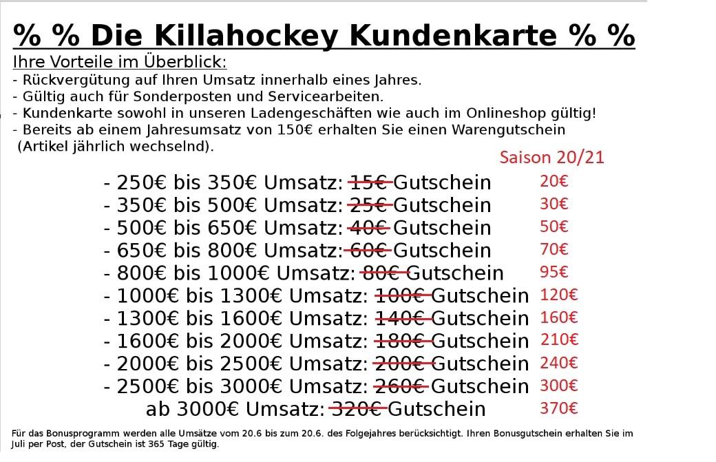 Killahockey Bonusprogramm mit Kundenkarte